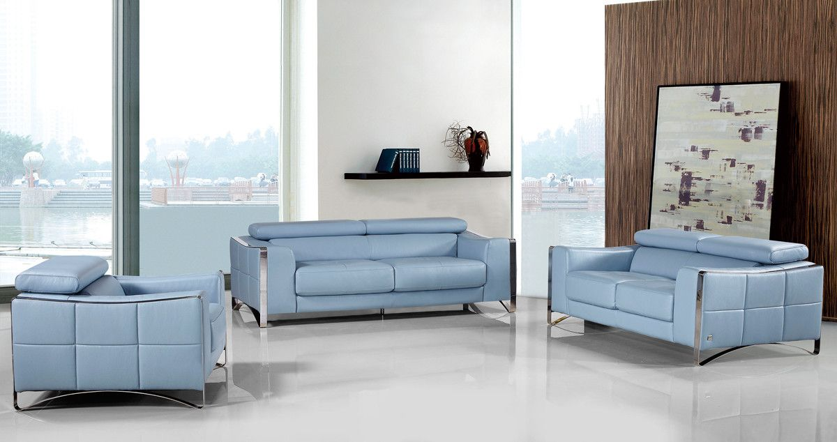 Divani Casa 1504 Modern Light Blue Leather Sofa Set Blue Leather Sofa Leather Sofa Leather Sofa Set