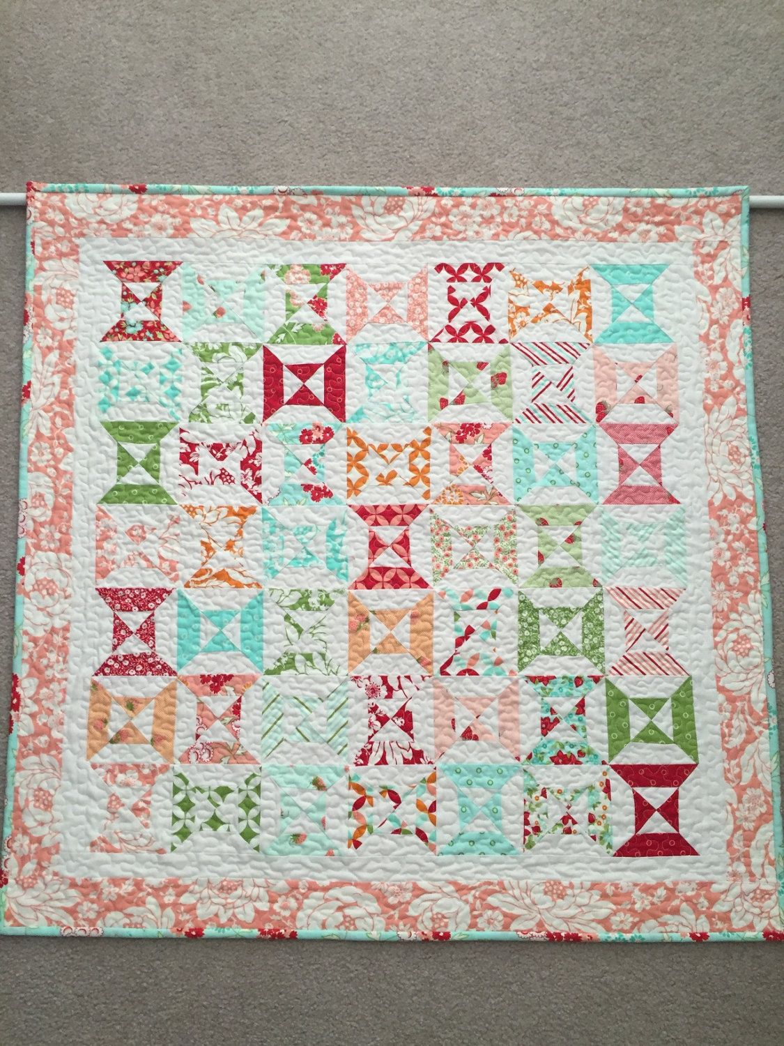 Modified Hourglass Block Quilt Wall Hanging or Table Topper by backporchquilts on Etsy