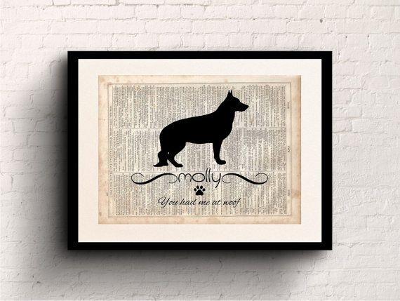 German Shepherd Custom Name Pet Silhouette, Dictionary Art Prints, Prints on Dictionary Paper, Dog Silhouette, Pet Portrait, Dog Print, #35