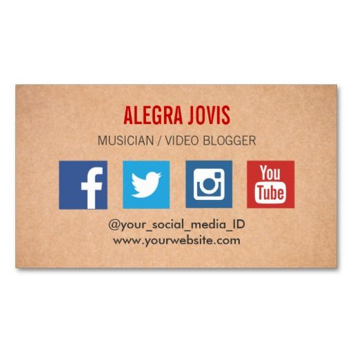 Social media musician you tube business card business card template shop customizable social media business cards and choose your favorite template from thousands of available designs fbccfo Image collections