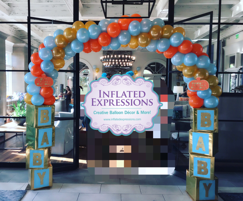 Entry way Balloon Arch on Boxes  — Inflated Expressions #balloonarch