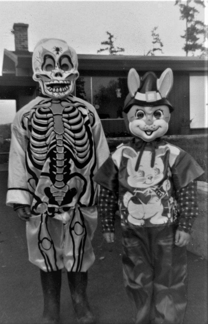 vintage halloween costumes 1950's skeleton and rabbit plastic masks