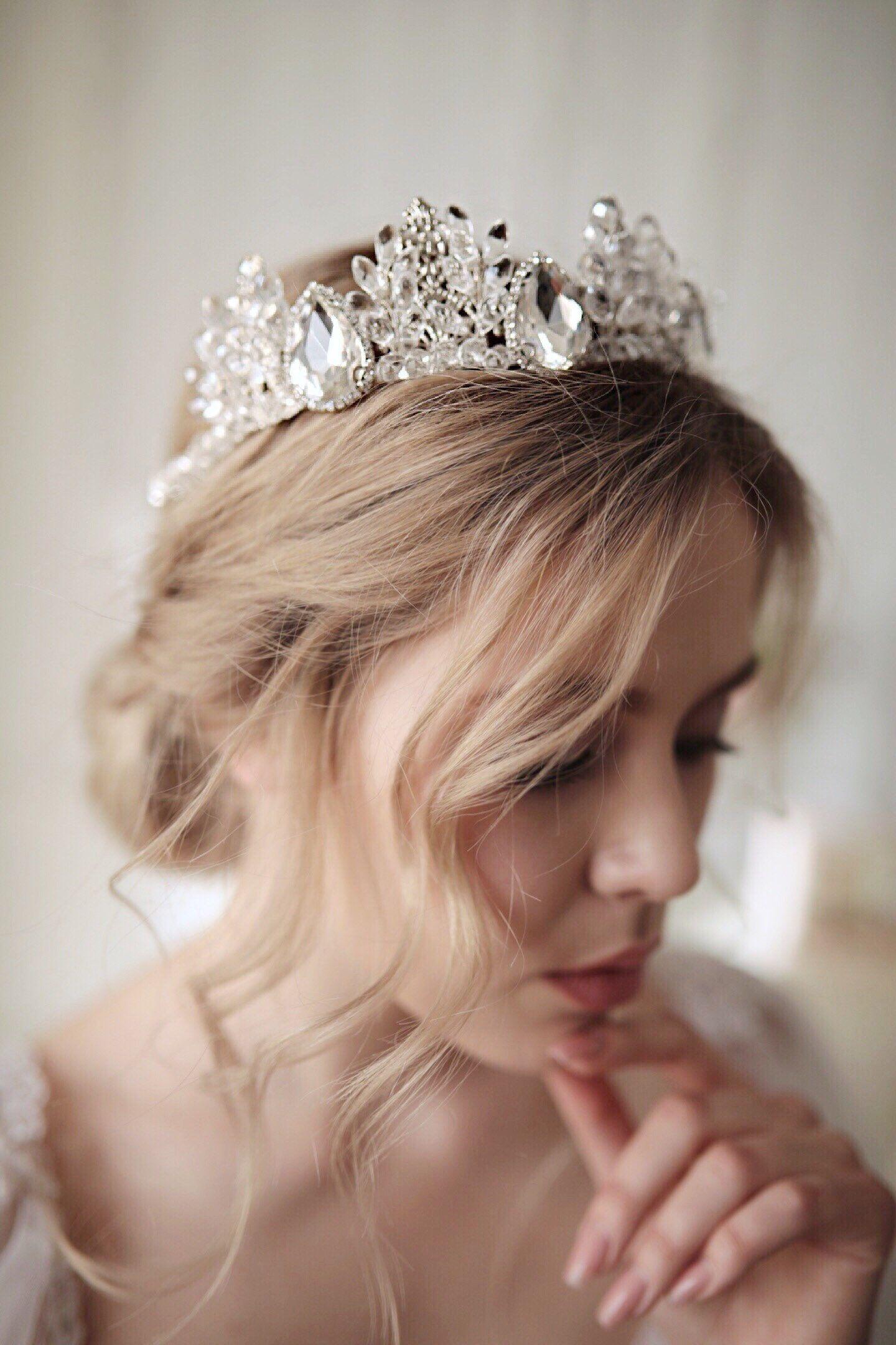 Wedding tiara Silver,wedding crown,Princess crown,Bridal Headpiece,Wedding headband,Queen crown,Tiara Bridal crown,Wedding accessories #bridalheadpieces
