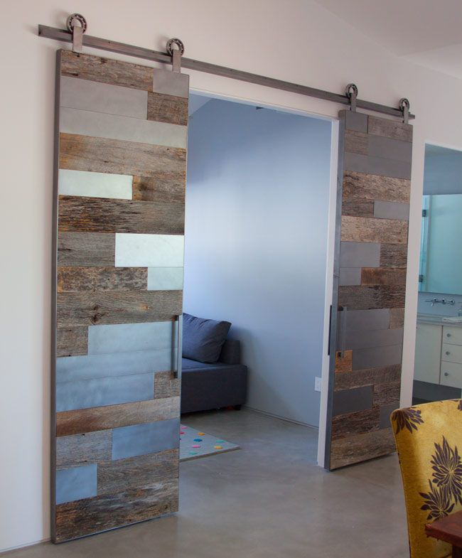 Designed and built by patina yard contemporary double for Barn door screen door