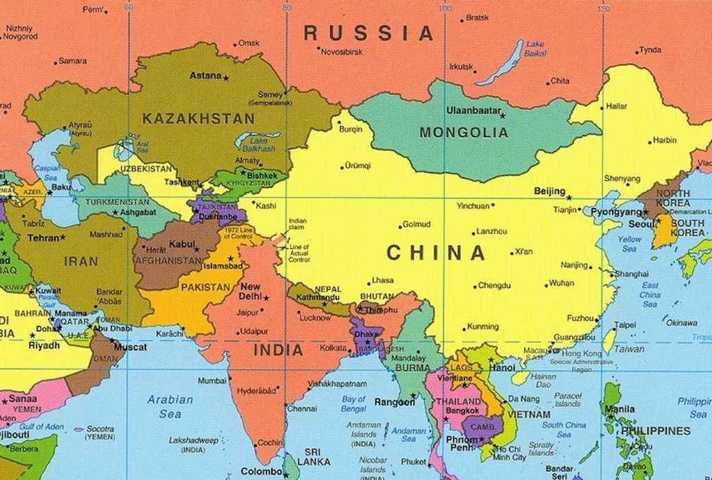 Asia Map With Country Names asia map with country names free ...
