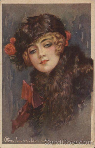Art Deco Very Pretty Woman in Hat
