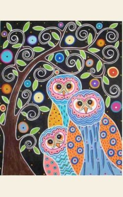 Owls in Tree Rug Hooking Pattern from The Merry Hooker Woolens