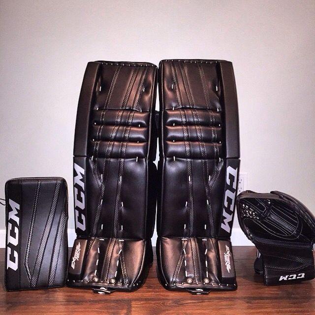 Here's an all-black CCM EFlex 2 setup! | Goalie Pads, Saves, Masks