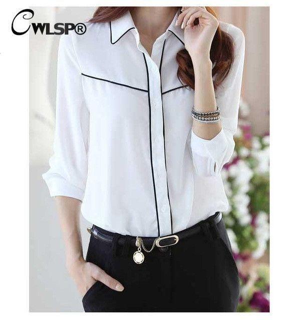 2016 Fashion Women White Chiffon Blouse office Lady Long Sleeve Contrast Piping shirts Blouse Femininas Plus size S-4XL CSW858