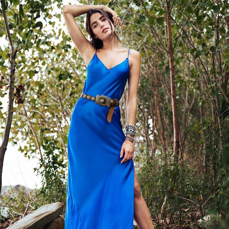 6600fe76e4e9 Dannijo Cobalt Silk Slip Dress with Side Slit   WISHLIST.   Dresses ...