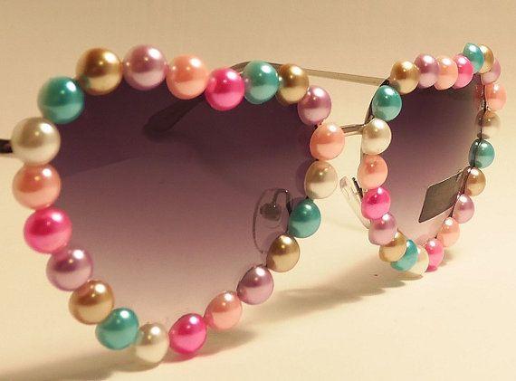 FREE SHIP USA! Cute Pastel Pearl Lolita Heart Shaped Sunglasses / uv400 protection / metal rim glasses / purple ombre lense / Tumblr