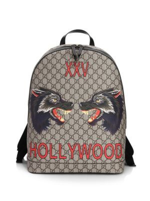 8fdc902eeca GUCCI Wolf Print GG Supreme Hollywood Backpack.  gucci  bags  leather   canvas  backpacks