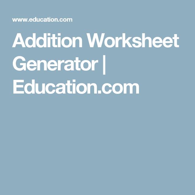 Addition Worksheet Generator Education Language Primary