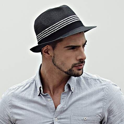 Black panama hats for men sun straw hat stripe design  2a42bea59841