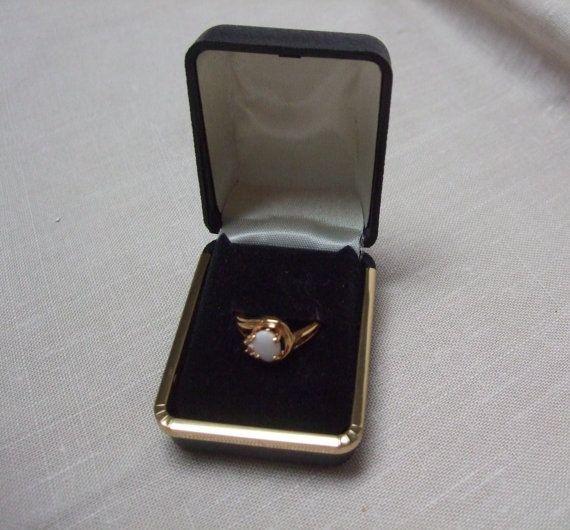 Vintage Ring Gold Finish White Stone and Rhinestone by trudysattic, $13.00