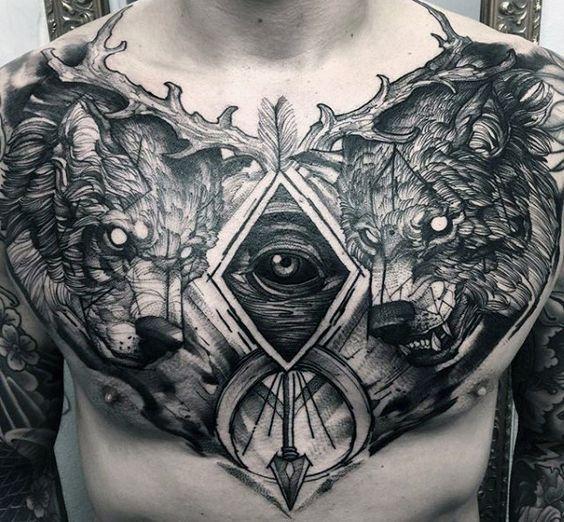 Badass Tattoos For Men Tattoos For Guys Badass Chest Piece Tattoos Cool Chest Tattoos