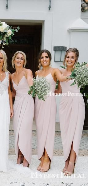 Charming Sexy Spaghetti Strap Sleeveless Pink Side Slit Long Cheap Wedding Party Bridesmaid Dresses, BDS0009