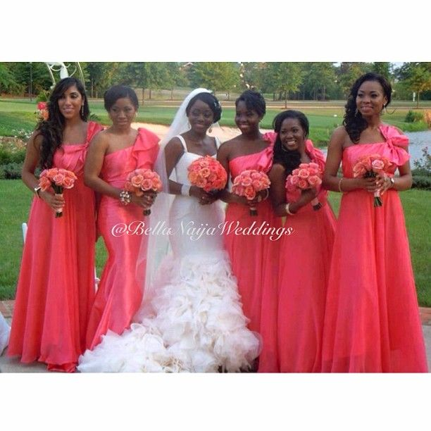 BellaNaija Weddings  Bridal party and bridesmaids in coral dresses and  wedding bouquets.  bridesmaid  maidofhonor  chiefbridesmaid cc41a2039ec3
