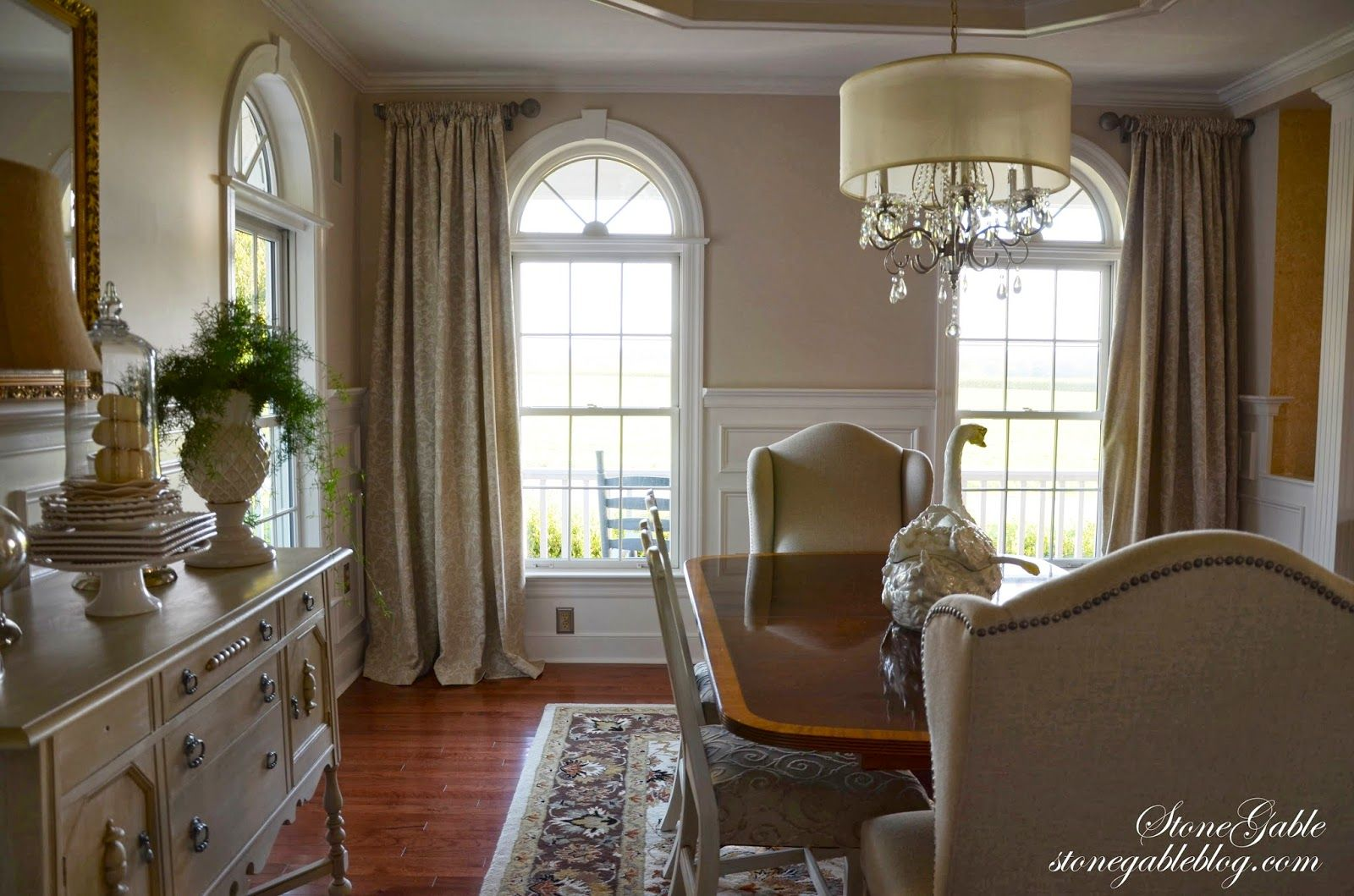 Stonegable Dining Room Curtains With Window Treatments For Arched Windows