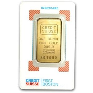 Credit Suisse 1 Oz Gold Bar 9999 Fine In Assay Credit Suisse Gold Bar Gold