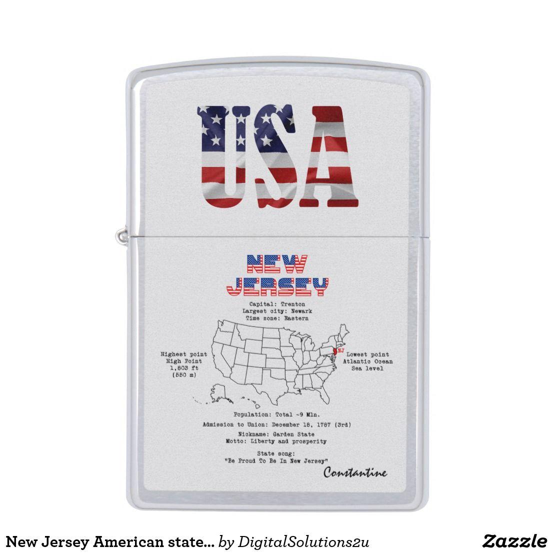 New Jersey American State On A Map And Useful Info Zippo Lighter Zazzle Com Zippo Lighter Zippo Lighter
