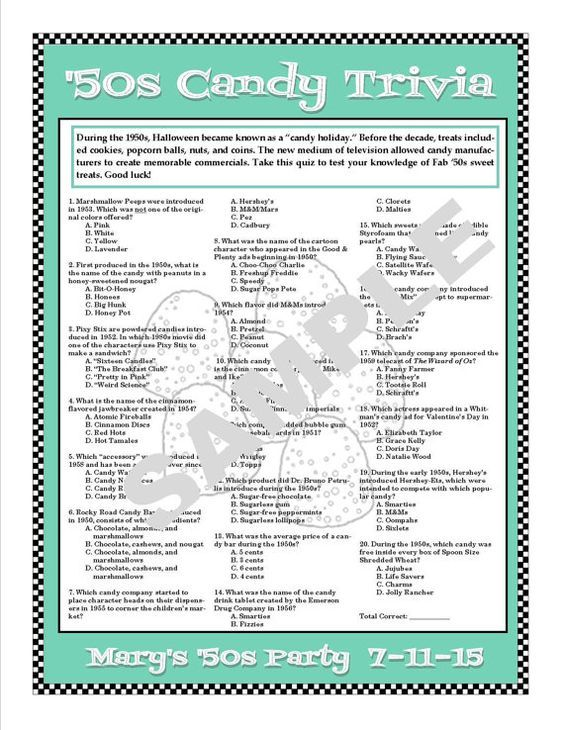 1950s Candy Trivia Printable Game - 1950s Trivia - Candy Trivia
