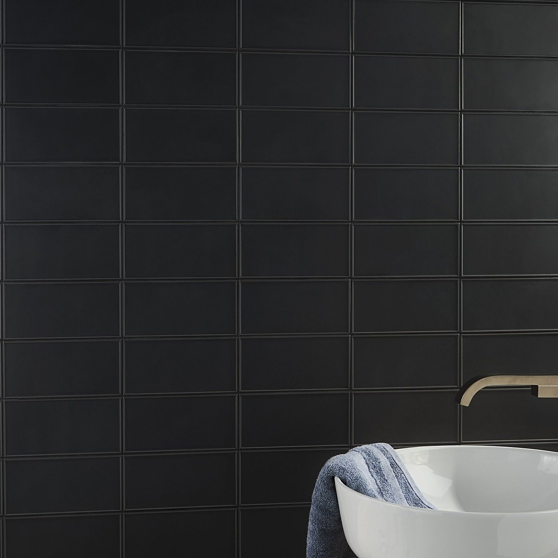 Stacy Garcia Maddox Frame Black 4x8 Matte Ceramic Wall Tile Wall