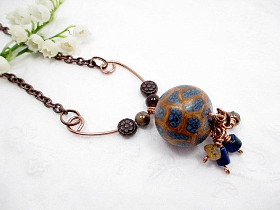 Copper Lariat Necklace Blue Bead Necklace by LittleBitsOFaith, $25.00