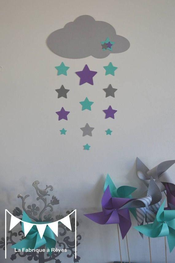 Stickers nuage et ses 12 étoiles - turquoise violet et gris - deco chambre turquoise gris