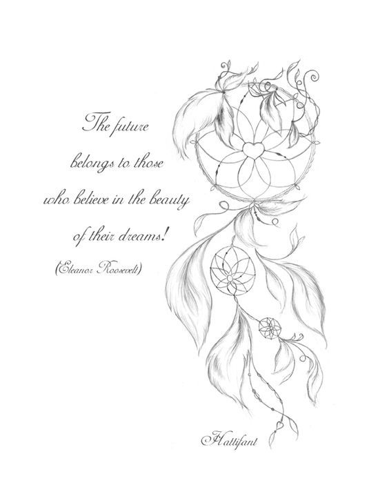 """The future belongs to those who believe in the beauty of their dreams!"" by Eleanor Roosevelt - See more at: http://hattifant.com/dreamcatcher-coloring-page/#sthash.vIq3ebBC.dpuf:"