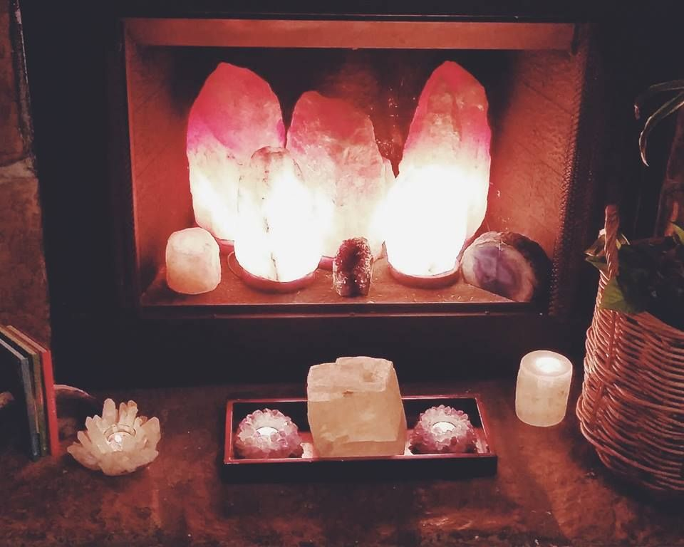 Bed Bath And Beyond Salt Lamp Enchanting Fireplace Decorated With Salt Rock Lamps From Earthbound Also Found Design Inspiration