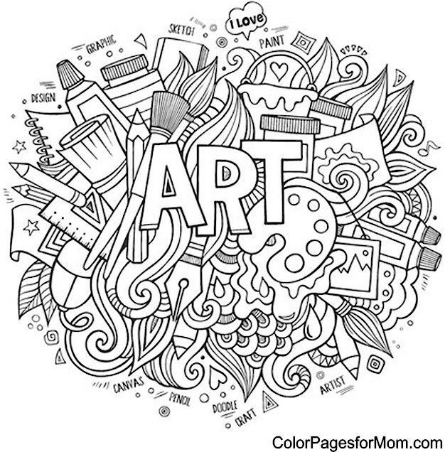 Cool Advanced Coloring Pages : Art free adult coloring book page