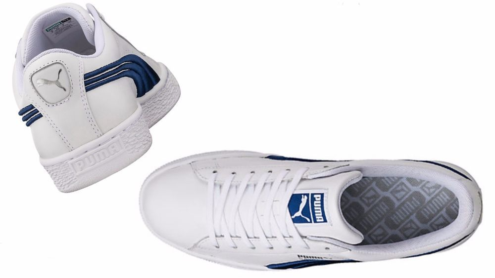 6a20e0012b54 Puma Men s BASKET CLASSIC BADGE SNEAKERS White-TRUE BLUE 362550-03  PUMA   36255003