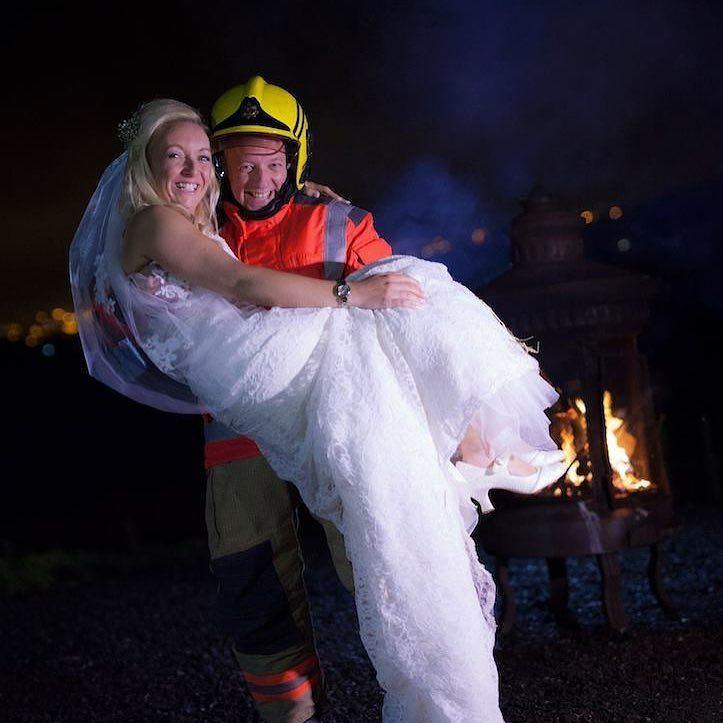 Congratulations to Amanda and James who held their wedding reception at @wellbeingfarm  yesterday. James works as a #fireman and therefore it was only right that he changed into his uniform to give Amanda a #firemanslift near our #firepit  Great photo by Richard Gabriel http://ift.tt/2eQQVq6