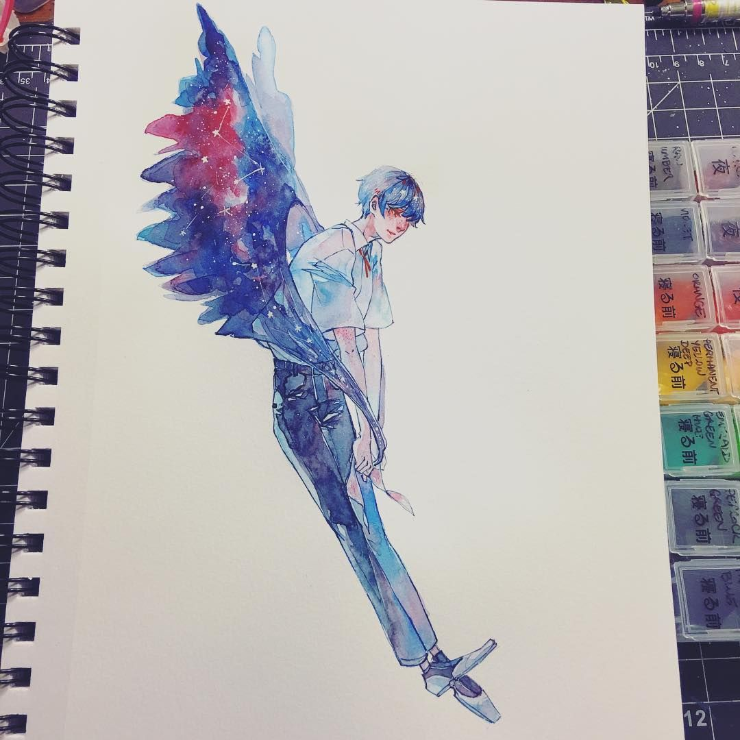Wing Drape Done With Shinhan Watercolors Hoo Boy It S Been So Long Since Cute Art Art Art Inspiration