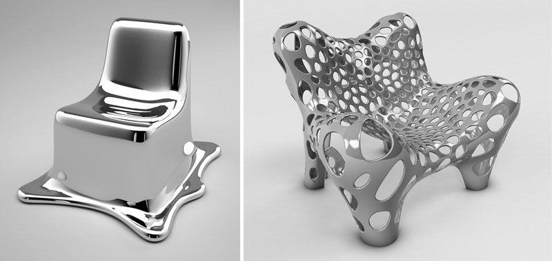 Shiny, Sleek, Curvy Pieces Ultra Futuristic Furniture Made Of Metal