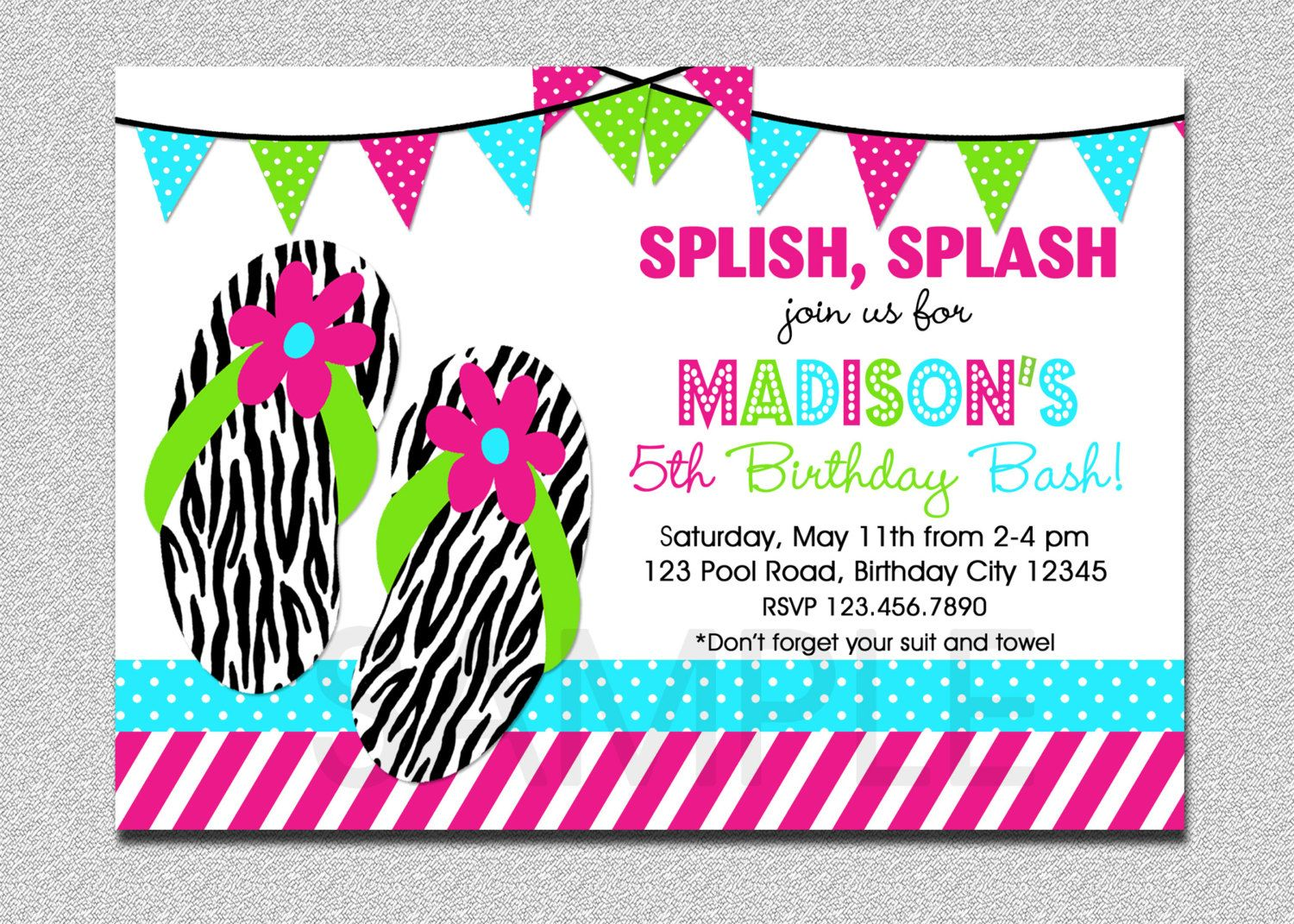 Splish Splash Pool Party Invitation 1st Birthday Pool Party ...