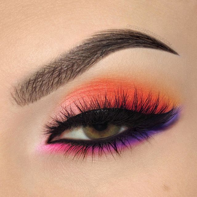 Bright Orange Pink And Purple Eye Look With Make Up For Ever Color