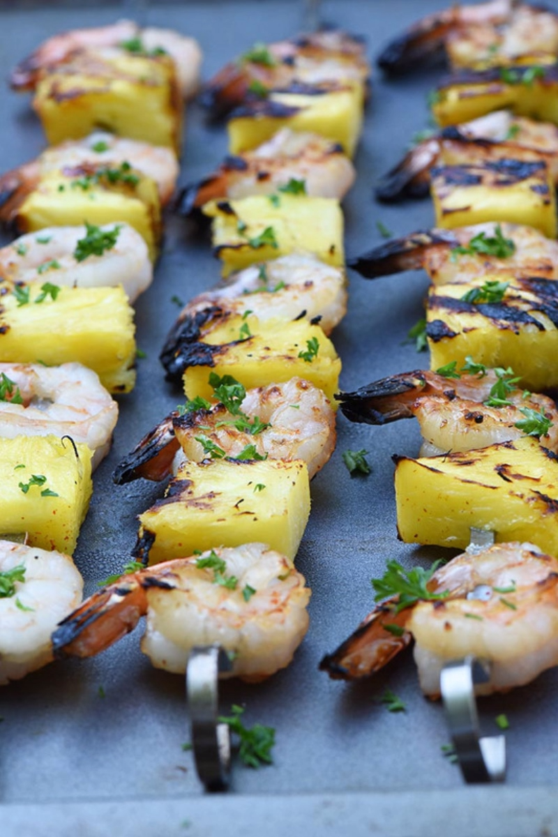 Maple Bourbon Marinated Grilled Shrimp Kabobs