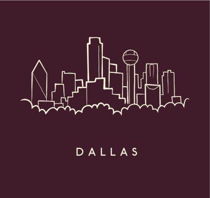 Hand Drawn Sketch Of The Dallas Skyline On Burgundy Background With Dallas Skyline Skyline Tattoo Dallas Tattoo
