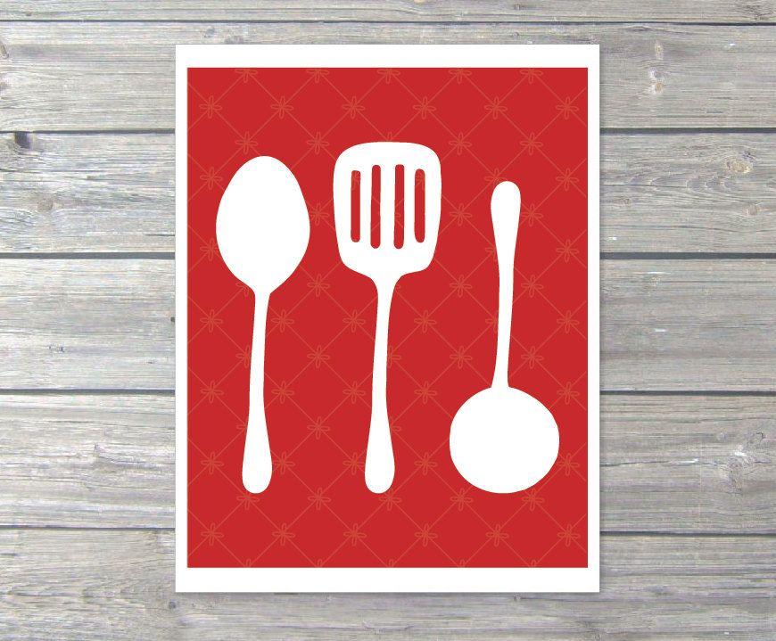 Kitchen Utensils Digital Print Cooking Spoon Spatula