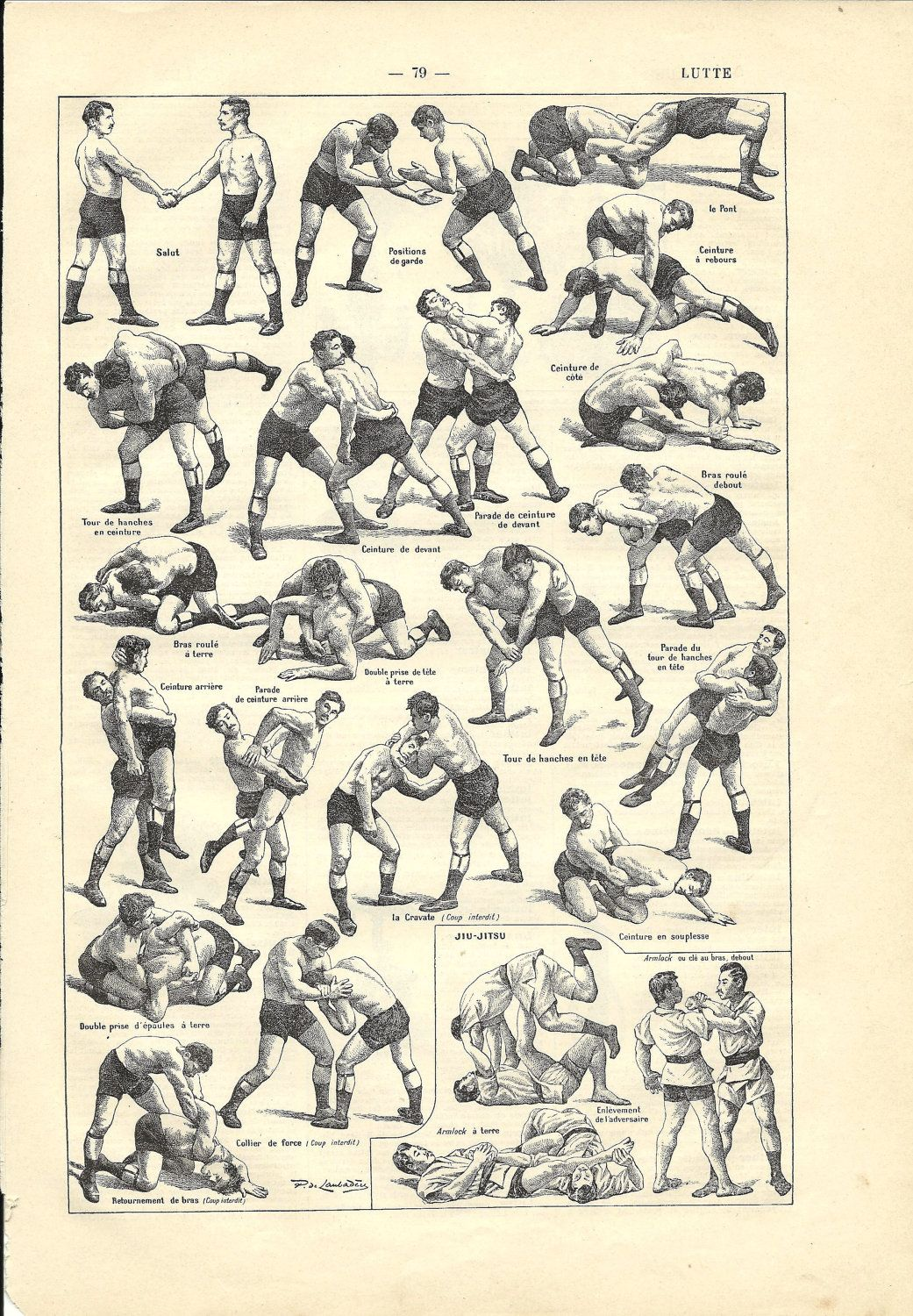 1908 poster wrestling combat sport french dictionary 1908 french sport dictionary wrestling illustration fandeluxe Image collections