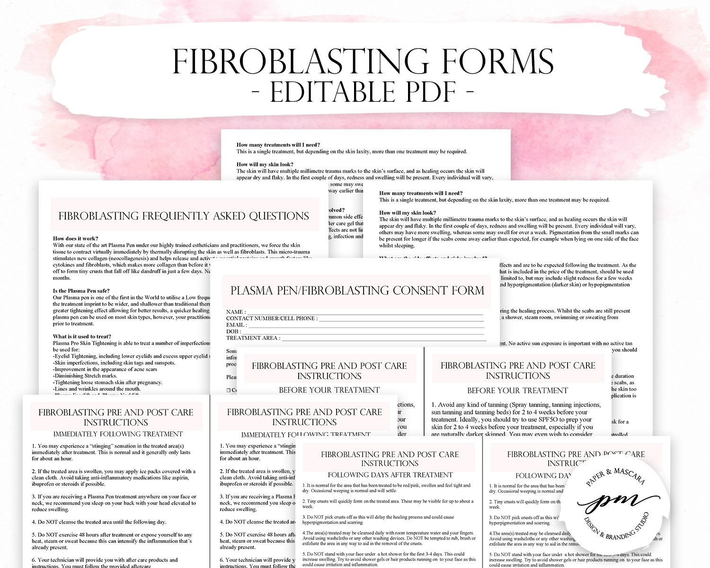 Fibroblast Client Forms Fibroblast Consent Form Plasma Pen Pre And Post Care Instructions Editable Pdf Consent Forms Pre And Post Plasma