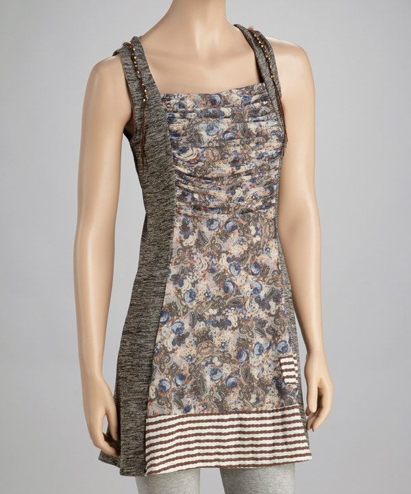 This Christine Phillipë Taupe Stripe Floral Tunic by Christine Phillipë is perfect! #zulilyfinds