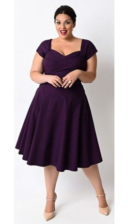 Stop Staring! Plus Size Mad Style Eggplant Cap Sleeve Swing ...