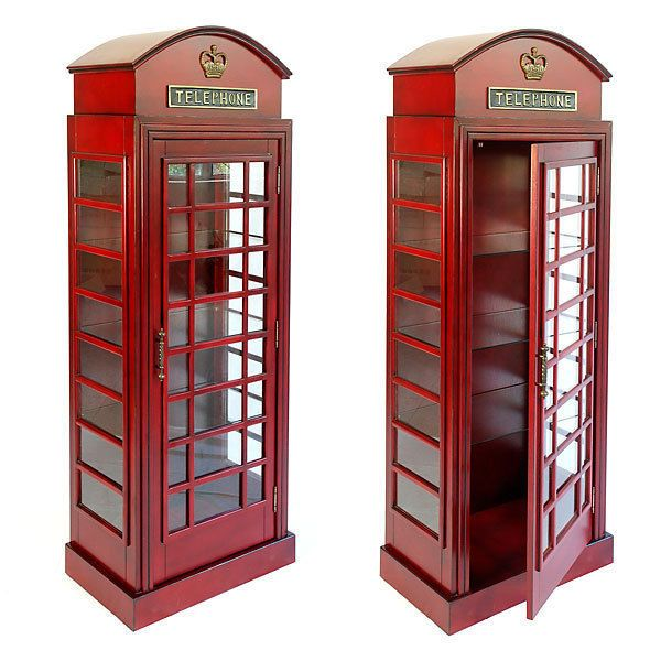 Gentil English Style Telephone Booth Cabinet  London Red Glass Shelves, 5.5u0027 FT  Tall