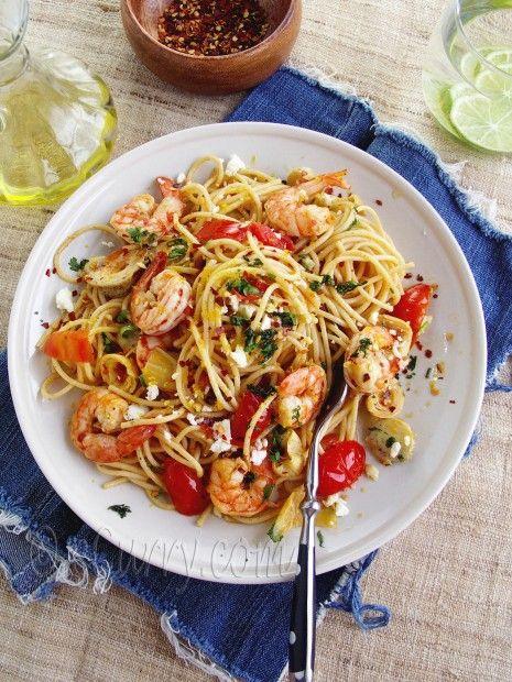 Pasta with Shrimp, Artichokes and Feta