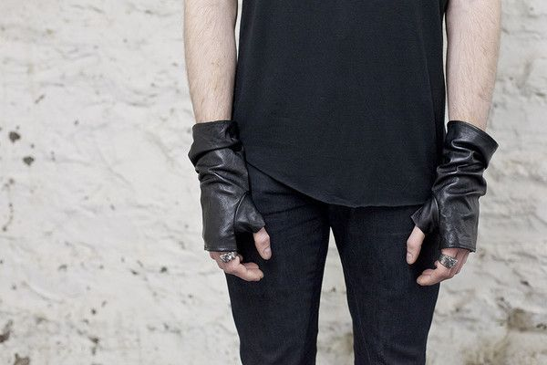Mens Black Washed Leather Gloves by Ovate