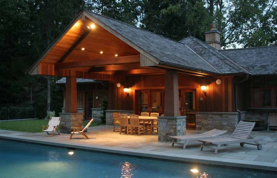 Pool House Designs composition roof structure with cedar post, stone boots, cedar