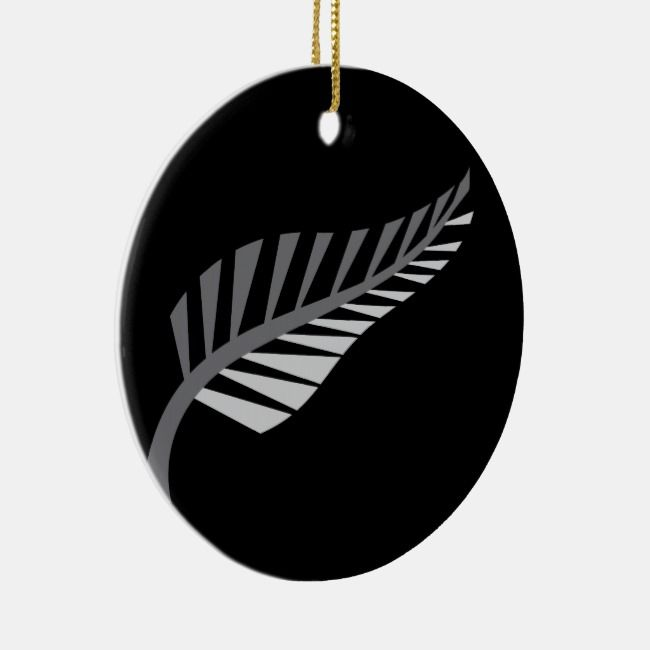 Silver Fern Awesome New Zealand image Ceramic Ornament ...